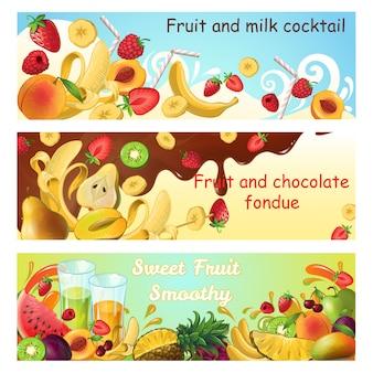 Horizontale banner mit natürlichen süßen produkten mit frischen bio-früchten, milch und schokolade spritzen und fließen