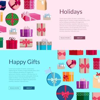 Horizontale banner mit vielen geschenkboxen oder paketen Premium Vektoren