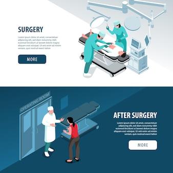Horizontale banner-sammlung des isometrischen chirurgenarztes mit illustration des chirurgischen operationstextes und der knöpfe der konsultation