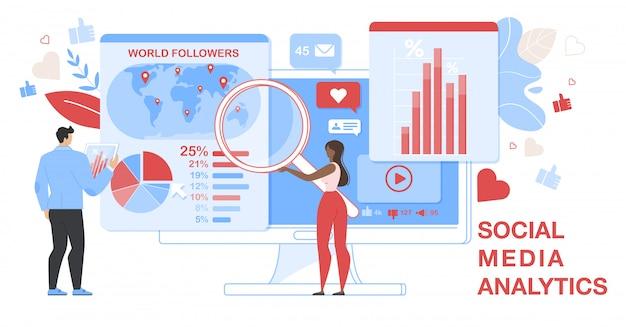 Horizontale banner von social media analytics. analytisch