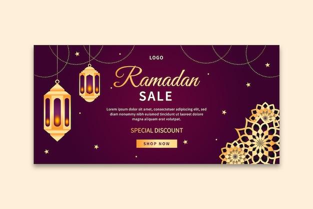 Horizontale banner-vorlage des ramadan-verkaufs