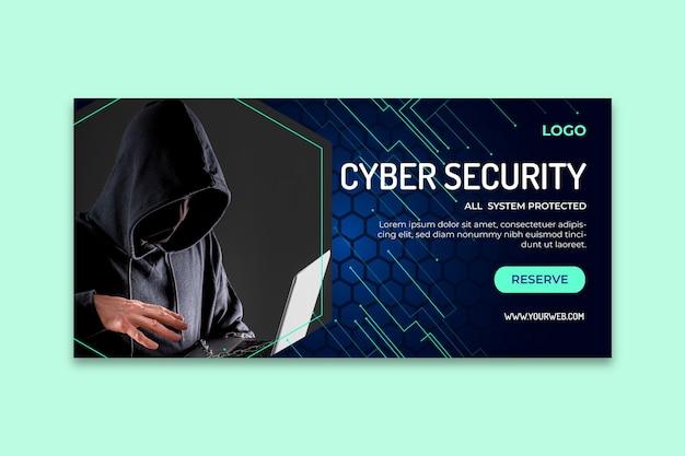Horizontale banner-vorlage für cybersicherheit