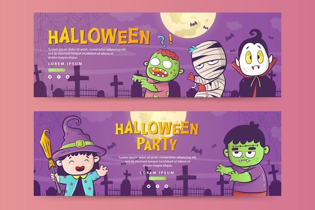 Horizontale banner-vorlage für halloween