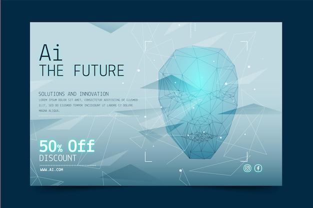 Horizontale banner-vorlage für künstliche intelligenz