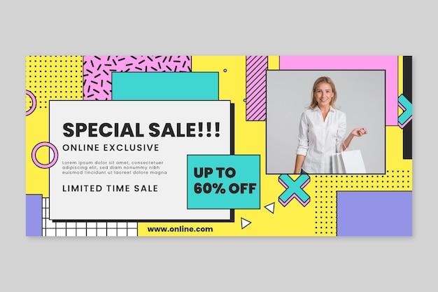 Horizontale banner-vorlage für online-einkäufe