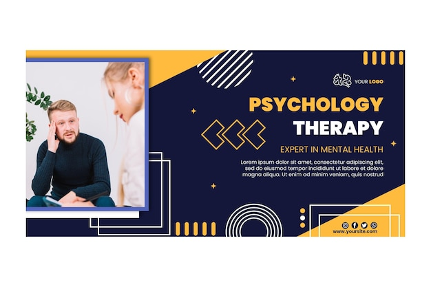 Horizontale banner-vorlage für psychologietherapie