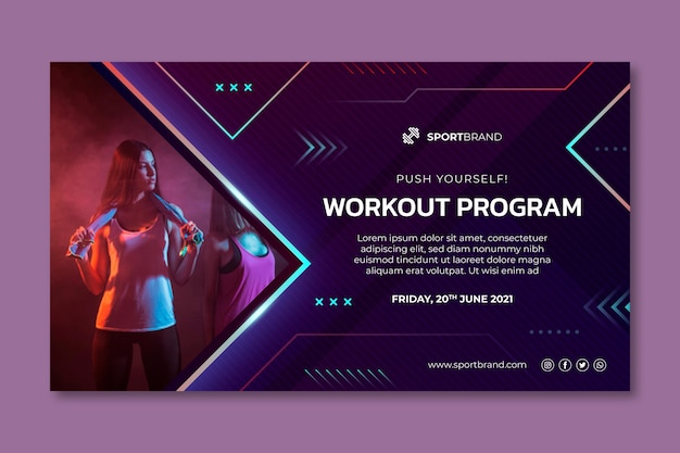 Horizontale banner-vorlage für sport und technik Premium Vektoren