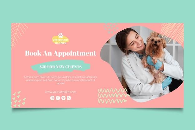 Horizontale banner-vorlage für veterinärmedizin