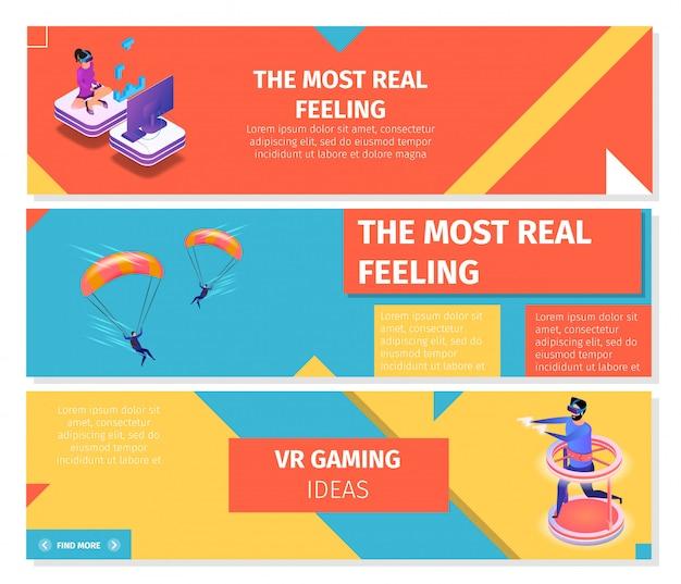 Horizontale banner zum thema gaming und fallschirmspringen