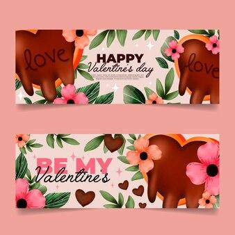 Horizontale banner zum valentinstag des aquarells