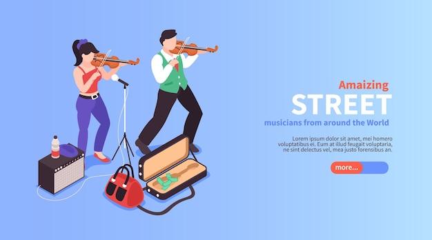 Horizontale bannerkomposition des isometrischen straßenmusikers mit gesichtslosen gekritzelzeichen des textes und der schaltfläche des geigenspielers