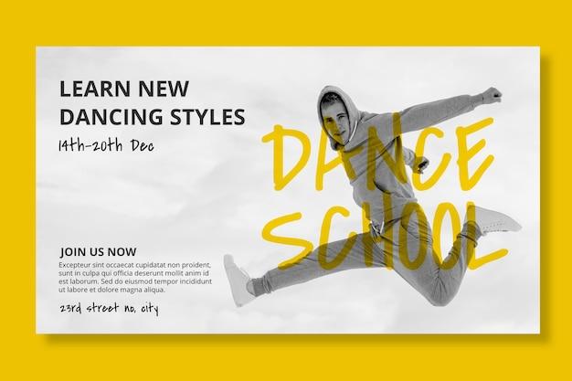 Horizontale bannerschablone der tanzschule mit männlichem tänzer