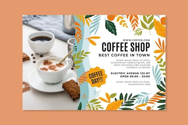 Horizontale bannerschablone des coffeeshops