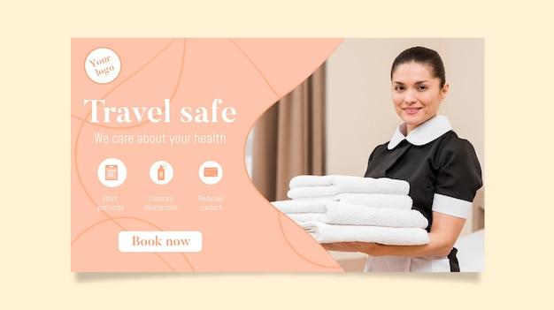 Horizontale bannerschablone des hotels mit foto