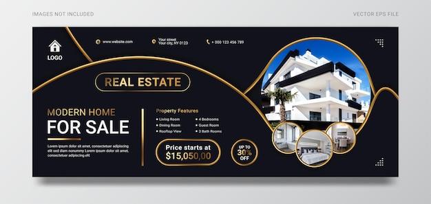 Horizontale bannervorlage für den verkauf von immobilien