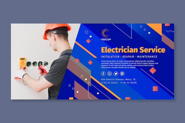 Horizontale bannervorlage für elektriker