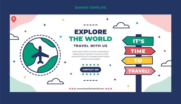 Horizontale bannervorlage für flache reisen