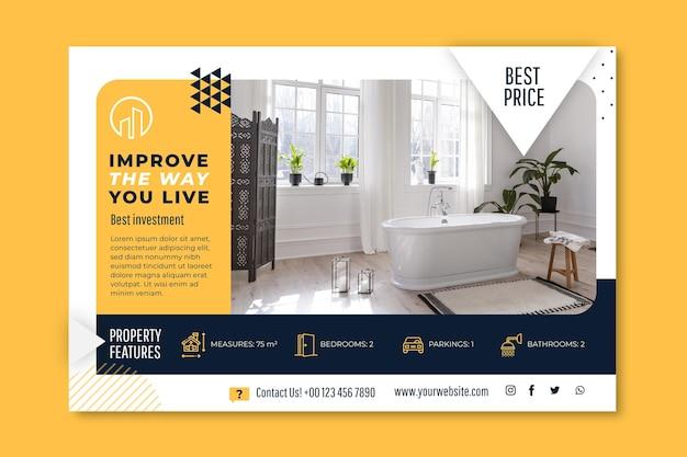 Horizontale bannervorlage für immobilien