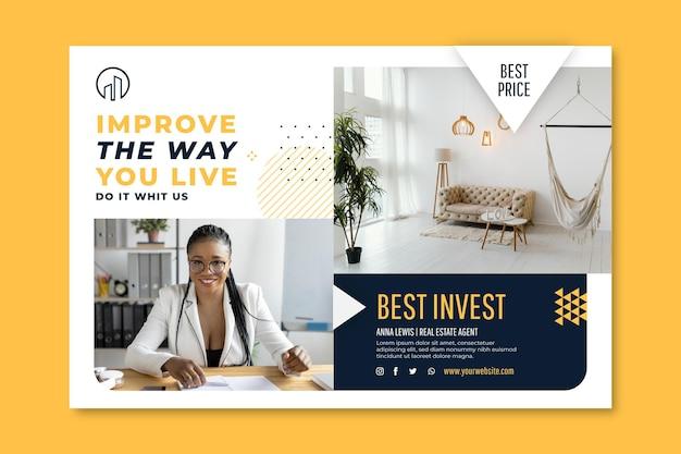 Horizontale bannervorlage für immobilien Kostenlosen Vektoren