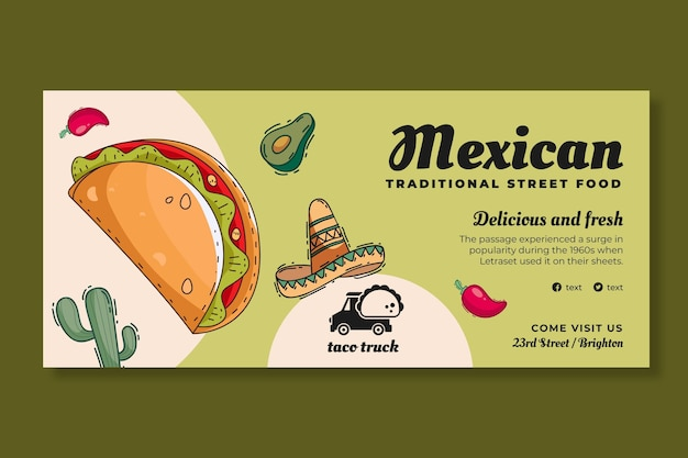 Horizontale bannervorlage für mexikanisches essen