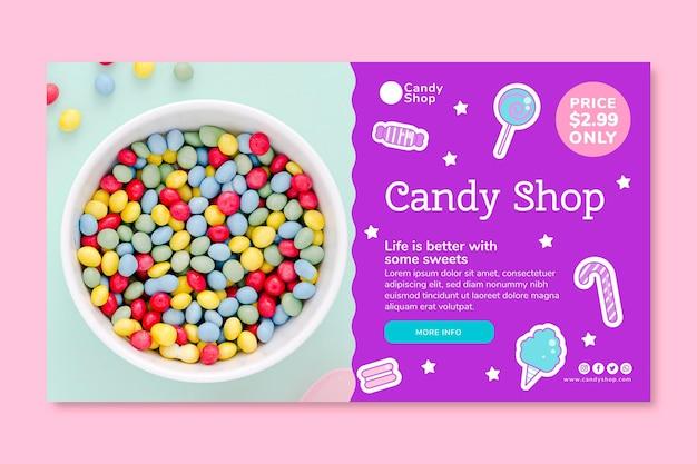 Horizontale bannervorlage für süßwarenladen