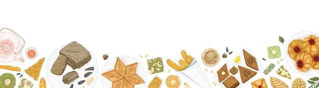 Horizontale bannervorlage mit orientalischen süßigkeiten auf tellern am unteren rand