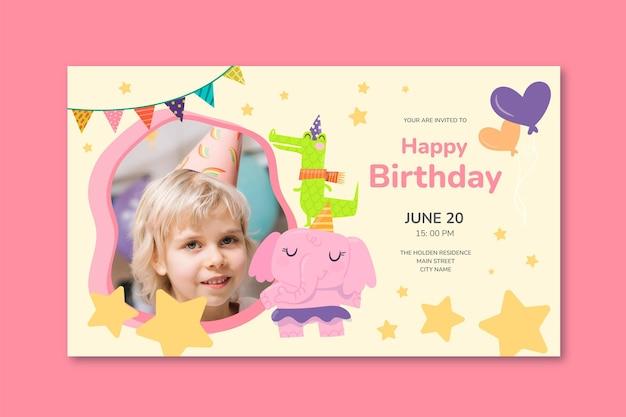 Horizontale bannervorlage zum kindergeburtstag