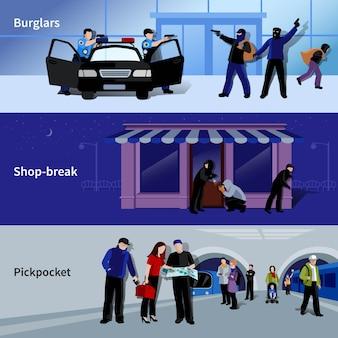 Horizontale bewaffnete einbrecher und kriminelle, die diebstahl in bankgeschäft und metro begingen