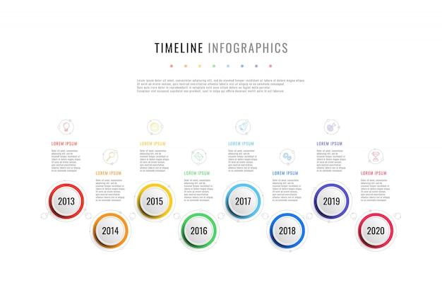 Horizontale business-timeline mit 8 runden elementen, jahr anzeige textfelder auf weißem hintergrund. realistische 3d pro schnitt infografik. moderne firmenpräsentationsfolienvorlage.