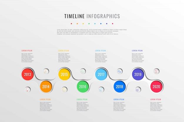 Horizontale business-timeline mit 8 runden elementen, jahresangabe und textfelder auf weiß