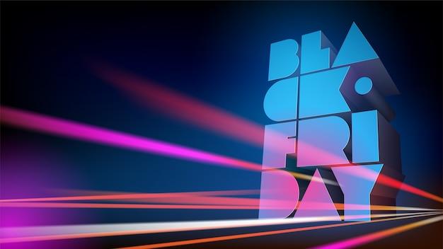 Horizontale darstellung für black friday rabatte und verkäufe. volumetrische typografie
