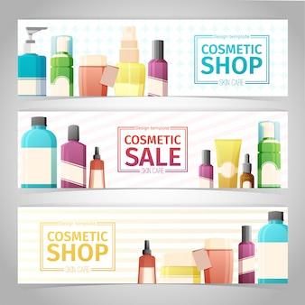 Horizontale design-banner über kosmetikgeschäft. design mit flaschen, tube dekorative kosmetik.