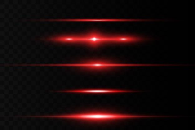 Horizontale fackel. horizontale laserstrahlen, lichtstrahlen. helle streifen auf dunklem hintergrund.