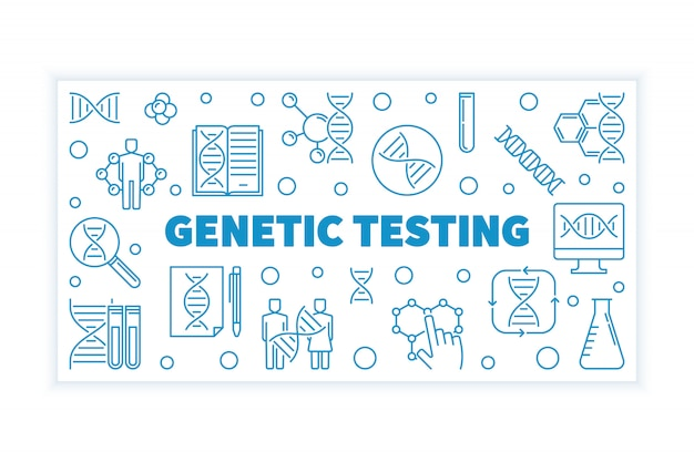 Horizontale fahne des blauen entwurfs der genetischen prüfung