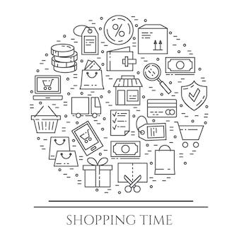 Horizontale fahne des einkaufsthemas