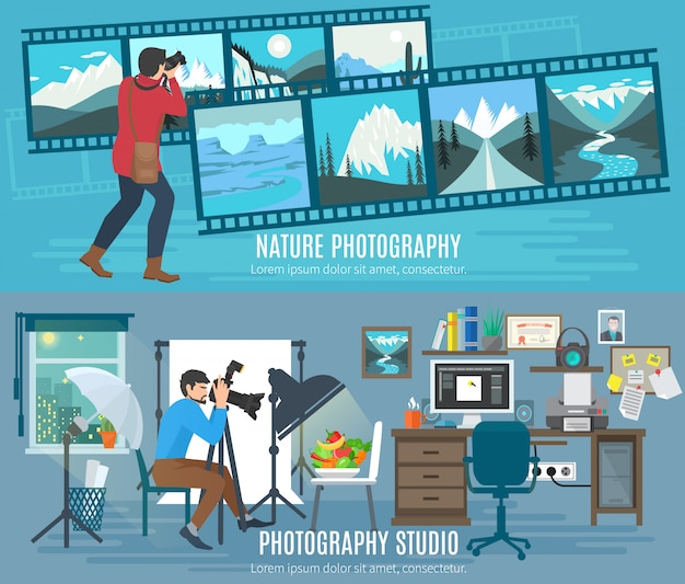 Horizontale fahne des fotografen eingestellt mit flachen elementen des fotografiestudios