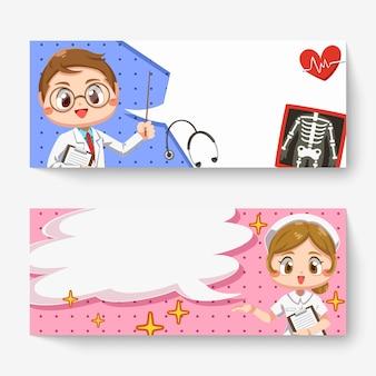 Horizontale fahne des fröhlichen doktormanns mit röntgenfilm und reizender krankenschwester mit sprechblase in zeichentrickfigur, isolierte flache illustration