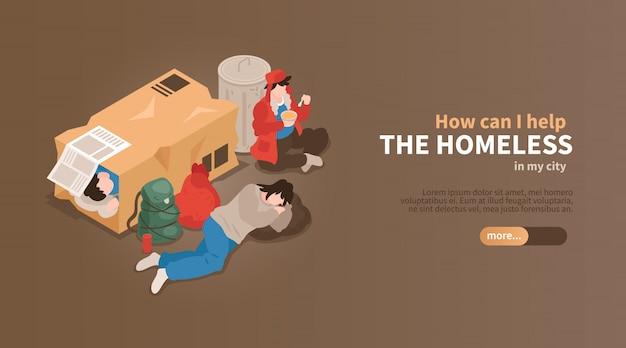 Horizontale fahne des isometrischen obdachlosen mit blick auf leute unter pappkartons und abfall mit textvektorillustration