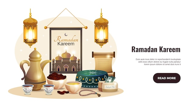 Horizontale fahne des ramadan kareem mit leuchtenden laternen und traditioneller lebensmittelillustration