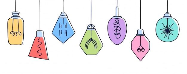 Horizontale fahne mit hand gezeichnetem vektorsatz verschiedenen bunten geometrischen dachbodenlampen