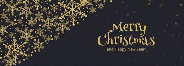 Horizontale fahne mit weihnachtsschneeflockekarte