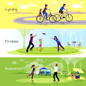 Horizontale fahnen der aktiven freizeitleute mit sportereignissen in der freizeit