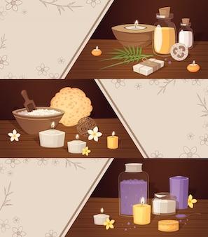 Horizontale fahnen der badekurortschönheitskarikatur mit körperpflegeelementen