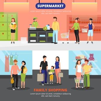 Horizontale fahnen der einkaufsleute stellten mit familieneinkaufssymbolen flach ein