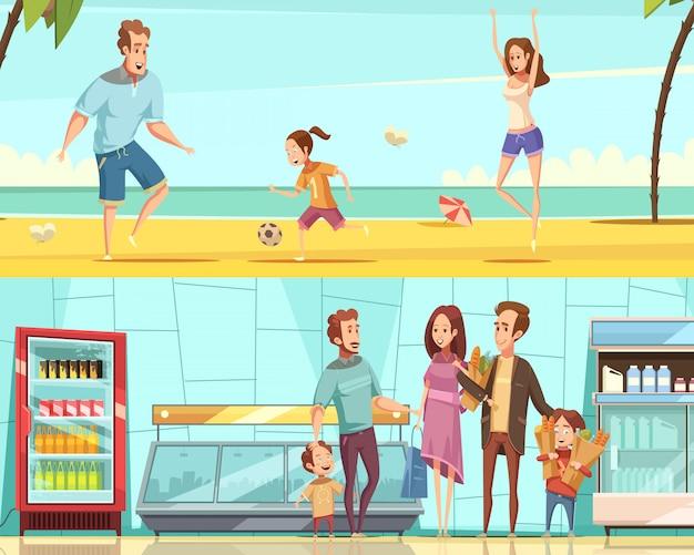 Horizontale fahnen der familie zwei mit den erwachsenen und kindern, die kauf im shopinnenraum machen und auf karikatur-vektorillustration des seestrandes flach stehen