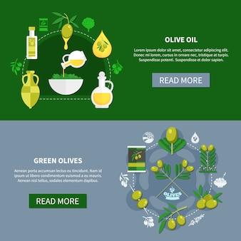 Horizontale fahnen der grünen oliven