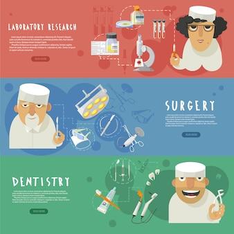 Horizontale fahnen der medizinischen gesundheitspflege