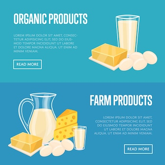 Horizontale fahnen der milchprodukte eingestellt