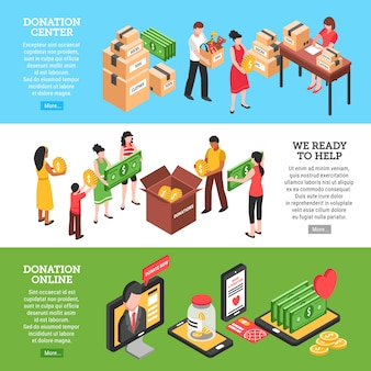 Horizontale fahnen der nächstenliebe stellten von den spendenmittenleuten ein, die bereit sind, online zu helfen und zu spenden