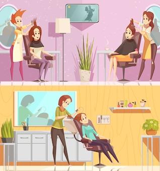Horizontale fahnen der retro- karikatur der friseursalon-service 2 stellten mit dem anredenden schnittfärbungsbehandlungen lokalisiert ein